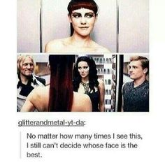 True!Katniss:Whatever-Peeta:Hehe*dont look dont laugh cant help it!*Hehe-Haymitch:Well we can all explain this one XD