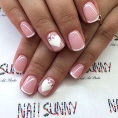 Beautiful French nails, Beautiful nails 2016, Delicate french manicure, French manicure with heart, Gentle french nails, Heart nail…
