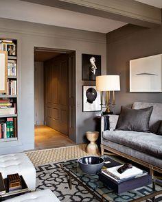 Living/Den Color, rug on rug, velvet sofa lighting