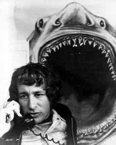 Steven Spielberg behind the scenes of 'Jaws', 1975.