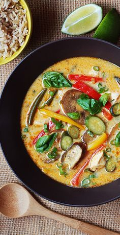 Lemongrass, Chicken, and Coconut Curry Stew With Summer Vegetables. Get your Thai fix without ever ordering takeout—easy weeknight soup dinner coming right up.