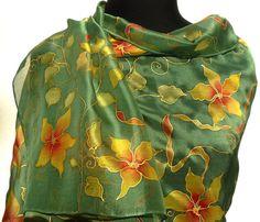 Hand painted floral silk wrap Long Chiffon silk scarf  Forest green bronze orange red gold. Elegant romantic  Woodland flowers silk shawl