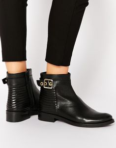 Image 1 of Dune Padston Black Leather Buckle Flat Ankle Boots FOUND IN AUGUST