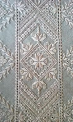 Close up of a very old pattern I converted.  Soft Pink on grey evenweave.