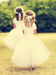 White flower girl dresses | Floral crowns tied with organza ribbons | Rustic wedding inspiration