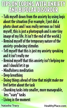 Do you have bipolar disorder AND anxiety? Here are some great self-help tips on how to handle anxiety in bipolar disorder from our bipolar blogger, Natasha Tracy. Add your tips or comments below.  www.HealthyPlace.com