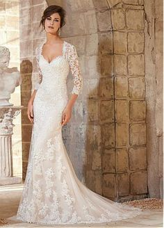 Elegant Tulle Queen Anne Neckline Mermaid Wedding Dress With Lace Appliques