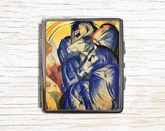 Blue Horses Cigarette Case - Expressionist Art Metal Cigarette Case - Cigarette Case Wallet - Cigarette Box - Cigarette Holder by RegalosOnline on Etsy