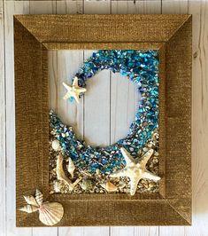 "19""x 16"" Beach Glass Wall and/or Window Art with Real Seashells Nautical Wall Art, Coastal Wall Art, Coastal Decor, Seashell Art, Starfish, Crushed Glass, Sea Glass Art, Window Art, Beach House Decor"