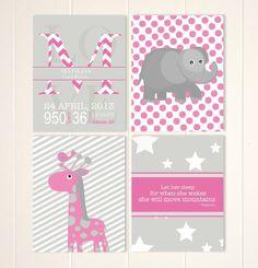 Safari nursery art, baby girl nursery, elephant nursery, giraffe, baby girl quote, baby name wall art, custom colors, set of 4 by PicabooArtStudio, $28.00