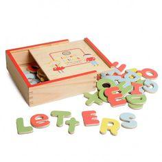 Magneten, letters, hout, 52 stuks