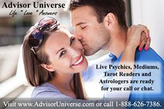 Real, live psychics available by phone or chat 24/7! Advisor Universe has accurate psychics, mediums, tarot card readers, and astrologers ready to answer your questions.  We can help you with love and relationship problems, family, career, finances, and health issues.  Don't delay, visit http://advisoruniverse.com today!