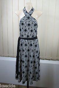Size L 14 Ladies Halter Dress Black White Stretch Cocktail Wedding Formal Style   eBay