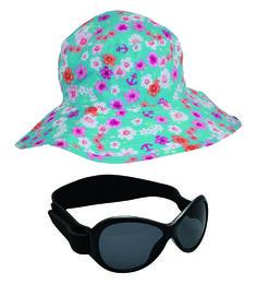 Girls Flowers Bucket Hat and Black Retro BabyBanz Sunglasses 0 - 5 years