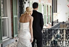 """Adorable """"first look"""" about to happen on the balcony! Savannah, GA"""