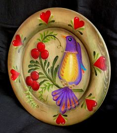 Hearts & Cherries Wooden Plate by KrugsStudio on Etsy, $21.99
