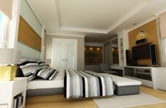 minimalist- i like tv, head board wall, and low bed frame