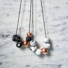 Image of White Marble/Black Marble Polymer clay Necklace