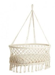 A macrame hanging bassinet is definitely the centerpiece of any bohemian nursery Hanging Bassinet, Hanging Cradle, Hanging Crib, Baby Cradle Swing, Baby Swings, Baby Bassinet, Baby Cribs, Baby Beds, Macrame Chairs