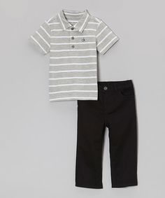Another great find on #zulily! Gray Stripe Classic Polo & Black Pants - Infant, Toddler & Boys #zulilyfinds
