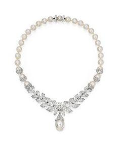 Cultured Pearl, Platinum and Diamond Necklace, Circa 1940