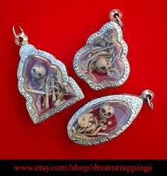Little Skeleton Sculpture Reliquary Locket Necklace-Style 6 Polymer Clay Jewelry…