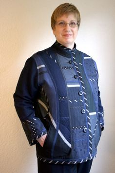 This fabric collage jacket combines 13 different black and navy fabrics.