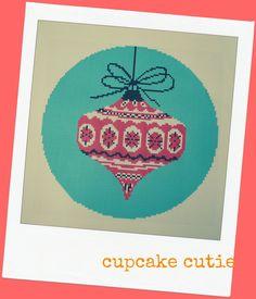 Vintage retro Christmas Bauble cross stitch by cupcakecutie1, $7.00