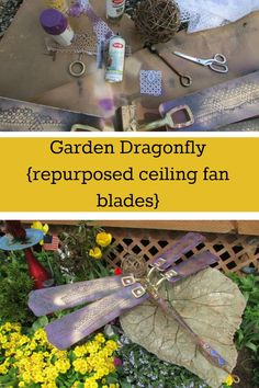 This is such a clever upcycle ~ blades from an old ceiling fan become the wings for a glow-in-the-dark garden dragonfly.