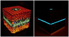 Cubical mood lamp decorated with glass mosaic. The top can be taken down so it becomes a storage box. With LED lighting and fluorescent mosaics which illuminate hours after the turning off the light. Mood Lamps, Mosaic Designs, Mosaic Glass, Mosaics, Turning, Furniture Design, Led, Wall Art, Lighting