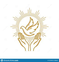 Illustration about Church logo. Praying hands and dove - a symbol of the Holy Spirit. Illustration of eternal, gospel, christian - 132783618 Church Logo, Church Banners, Embroidery Cards, Creative Embroidery, Spirit Drawing, Dove Drawing, Jesus Book, Première Communion, Religious Pictures