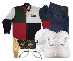 """""""Tommy Trillfiger """" by jasmineharper ❤ liked on Polyvore featuring Levi's, ban.do, Tommy Hilfiger, NIKE, Rolex, Benetton, Dogeared, men's fashion and menswear"""
