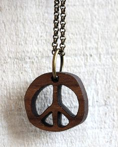 Wood Peace Pendant Necklace by TinyWhaleStudio on Etsy Tiny Whale Studio