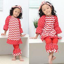 Girl Christmas Children's Clothing Toddler Ruffle Chevron Outfits Kids Girls Cotton Cltohing Set Dress Pants Suit(China (Mainland))