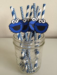 Sesame Street Cookie Monster Paper Straws