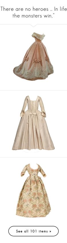 """""""""""There are no heroes ... In life, the monsters win,"""""""" by ofmonstersandmen1 on Polyvore featuring dresses, gowns, costume, victorian, long dress, vestiti, long dresses, 1700's, historical and beige gown"""