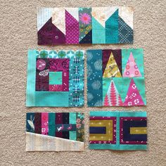 """#patchworkcitysampler blocks I started in @elizabethagh's class at Quilt Con earlier this year. Have started adding to them today. #patchworkcity"""