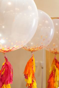 "giant 36"" clear balloons with tissue tassel fringe :: the tomkat studio shoptomkat.com"