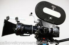 Arriflex 16mm movie camera, tobin crystal motor, angenieux lens, battery, matte