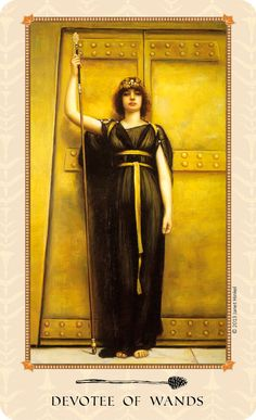Devotee of Wands (Page of Wands): Protecting the creative process. At the door of the labyrinth. From the Tarot of Delphi: A Fine Art Tarot Deck