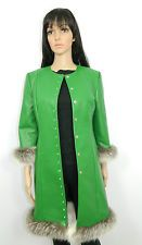 NWT GREEN LEATHER COAT WHITE CROSS FOX FUR TRIM GREEN CRYSTAL SNAPS Sz.S
