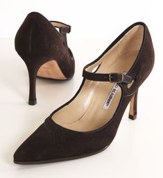 MANOLO BLAHNIK in ESPRESSO  I have these is gray with button closure.  I love em