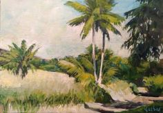 New Vosberg Tropical Painting 7 X 5 Canvas Panel Maui Palm Trees Hawaii Acrylic