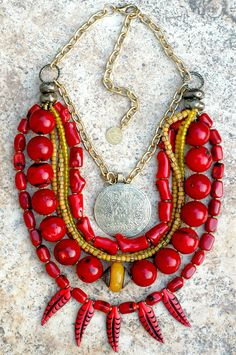 Tibet: Tibetan-Inspired Red Coral, Yellow and Brass Medallion Fringe Necklace Red Jewelry, Star Jewelry, Gold Jewellery, Jewelry Ideas, Beaded Jewelry, Fringe Necklace, Star Necklace, Dainty Gold Necklace, Red Coral
