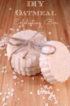 DIY Oatmeal Exfoliating Bar  1/4c oatmeal, finely ground 12oz Castile soap, grated  Essential oil   Melt soap over a double broiler and allow to cool 3 mins Add essential oil Add oatmeal to silicone molds and pour soap in and allow to harden 3-4 hrs