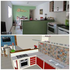 O Tradicional e o Moderno juntos no mesmo ambiente. Ladrilho hidráulico, cozinha, cozinha vermelha, ousado, inspiração!