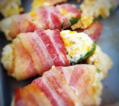 Bacon-Wrapped Jalapeno Chicken Bites using healthier ingredients. Real Food Recipes, Cooking Recipes, Yummy Food, Yummy Snacks, Cooking Ideas, Fun Food, Yummy Recipes, Chicken Recipes, Jalapeno Recipes