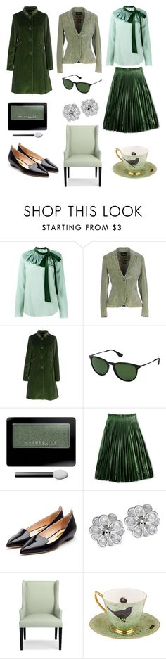 """""""Chic olive"""" by valelondon ❤ liked on Polyvore featuring Chloé, IANUX, Maison Olivia, Ray-Ban, Maybelline, Rupert Sanderson, Williams-Sonoma and Melody Rose"""