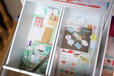 Embellishments and card drawers for my homemade kits. Left drawer - for my Home albums. Right drawer - for my sunny AZ pages.  For more on this go here: http://www.paperclipping.com/paperclipping-258-organization-for-making-and-using-kits/