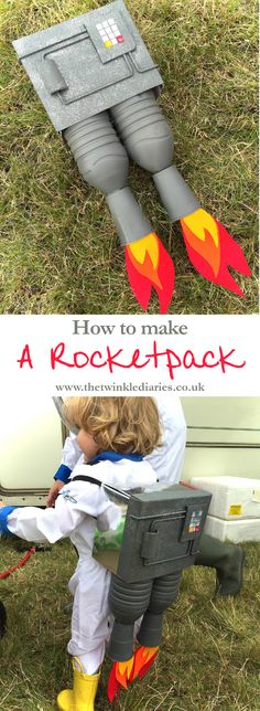 How to make a Rocket Pack for kids! The perfect craft DIY for little astronauts. Camp Bestival is happening in just over a month's time and the theme this year is Outer Space; here's how to make a rocketpack to turn you into a spaceman! Space Theme Costume, Outer Space Costume, Space Costumes, Robot Costumes, Halloween Costumes For Kids, Diy Costumes, Kids Space Costume, Alien Halloween, Clever Costumes